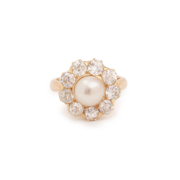 Bague Marguerite Perle Diamants Taille Ancienne Or Rose 18K (3)
