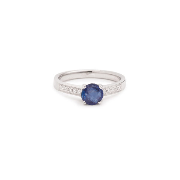 Bague saphir Birman 1cts Diamants Or Gris (3)