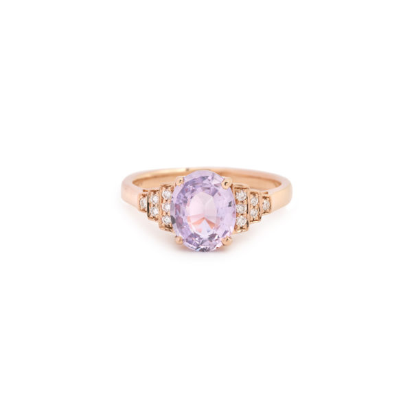 Unheated Madagascar 2.19cts Lilac Sapphire Diamonds 18 Carat Rose Gold Ring (Certified)